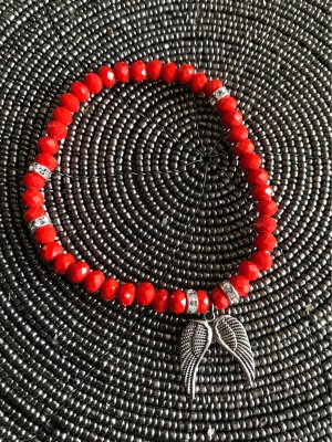 Pearl Bracelet red-silver-colored