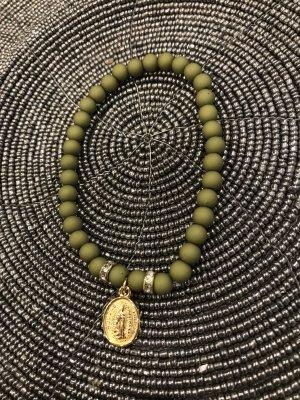 Pearl Bracelet olive green-bronze-colored