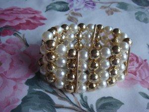 Perlen Armband Modeschmuck Perlenarmband Perle goldig - 5 Reihen