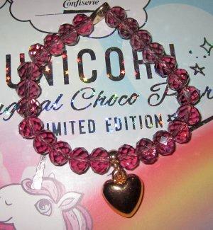 Perlen Armband purpur lila frau violett goldener Anhänger Herz Herzanhänger one size XS S M L NEU
