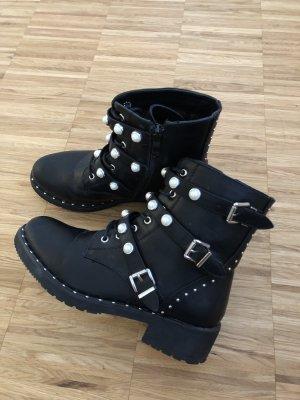 Perlen Boots/Stiefeletten mit Schnallen