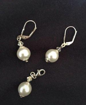 Pendientes de perlas color plata-blanco puro