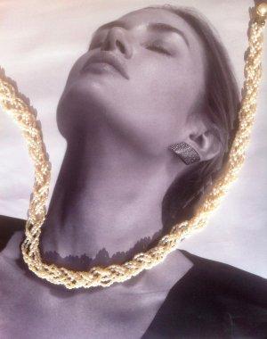 Perlen Collier, echt, aufwendig, mehrreihig geflochten, wie Neu