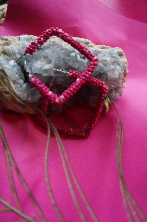Perlen Creolen magenta