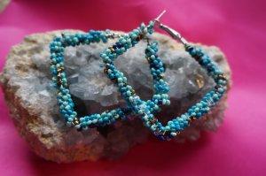 Perlen Creolen türkis blau