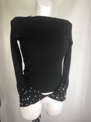 Perlen Damen Shirt Glockenärmel Schwarz Neu S