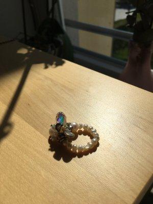 Perlen Glitzerring mit Swarovskistein, Gummizug