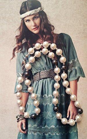 Perlen Hämatit Kette Perlmutt Vintage Nachlass
