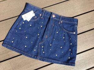 River Island Denim Skirt steel blue cotton