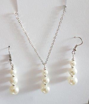 Pendientes colgante blanco-color plata
