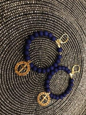 Boucles d'oreilles en perles bleu-bronze