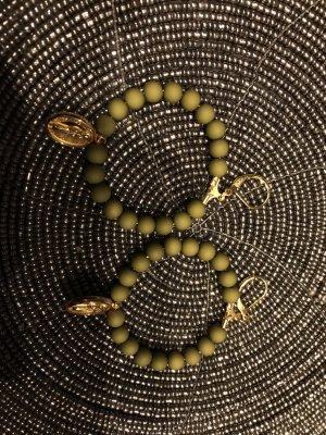 Boucles d'oreilles en perles vert olive-bronze