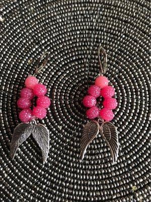 Boucles d'oreilles en perles argenté-rose