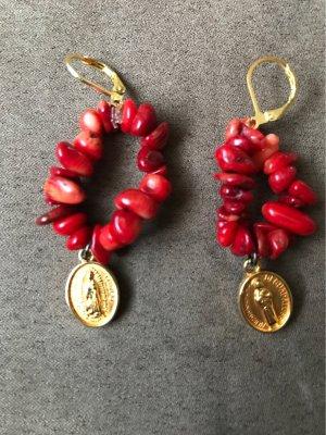 Boucles d'oreilles en perles bronze-rouge foncé