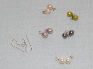 Perlen paarig, fünf Pastellfarben und Ohrhalter NEU