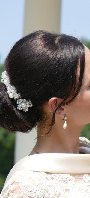 Perlen Strass Hochzeit Brautschmuck Braut Haarschmuck Strass ivory weiß