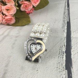Perlen Uhr Weiss mit Herz Zifferblatt