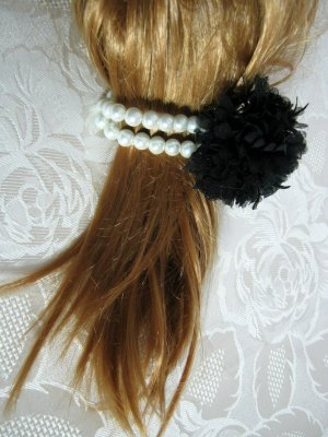 Bandeau cheveux noir-blanc
