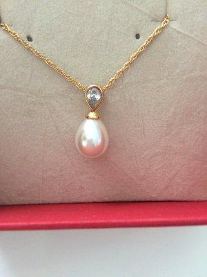 Perlenanhänger an Sterling Silber Kette vergoldet