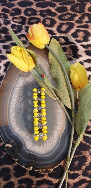 Perlenarmband gelb 2 Reihen