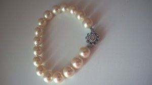 perlenarmband nude beige silber Blume Strass Steinchen Sonne