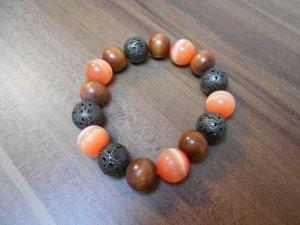 Perlenarmband Orange Braun
