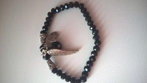 perlenarmreifen band mit flügel engel schwarz steinchen