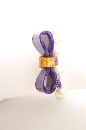 Perlenarmschmuck weiß-lila extravaganter Stil