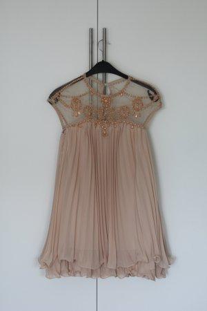 Perlenbesetztes Kleid, Gr. 34, Nude