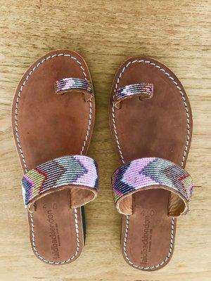 Sandalo infradito color cammello Pelle