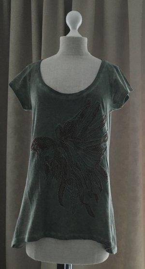 Perlenbesticktes Vokuhila T-Shirt - NEU