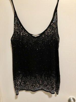Zara Haut à fines bretelles noir-bleu foncé