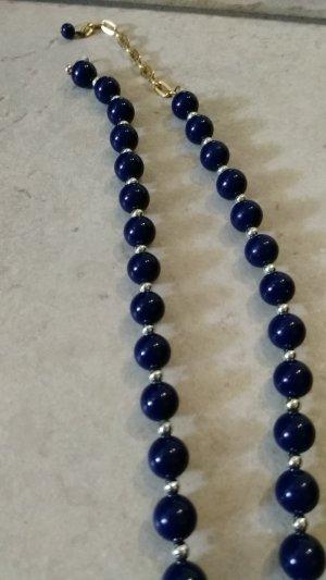 Collar de perlas azul oscuro-color oro