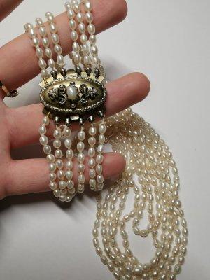 Collar de perlas color plata-blanco puro