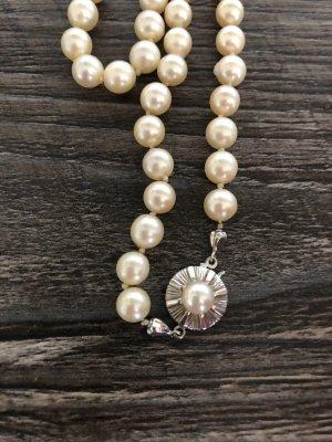 Perlenkette 65 cm 585 weiß Gold Verschluss