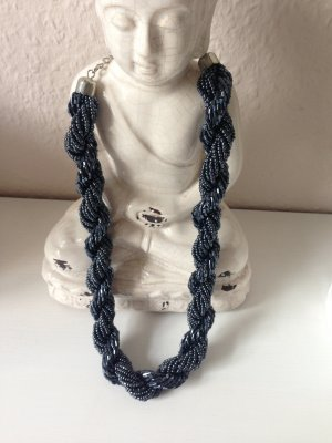 Perlenkette dunkelblau Statementkette