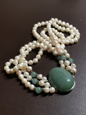 Pearl Necklace natural white-forest green