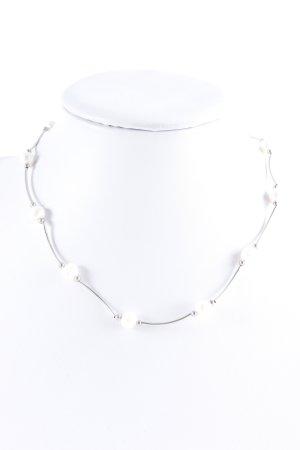Collar de perlas beige claro-color plata estilo «business»