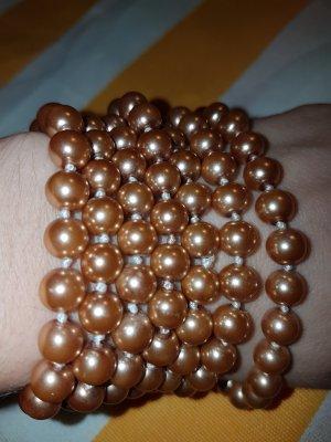 Perlenkette in Metallic Peach ca. 130 cm lang