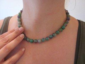 Perlenkette Mintgrün Flieder  Achat Neu