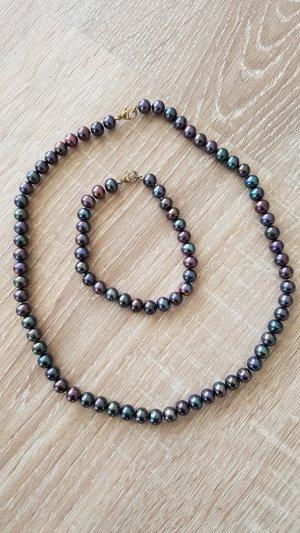 Collier de perles gris lilas-gris vert
