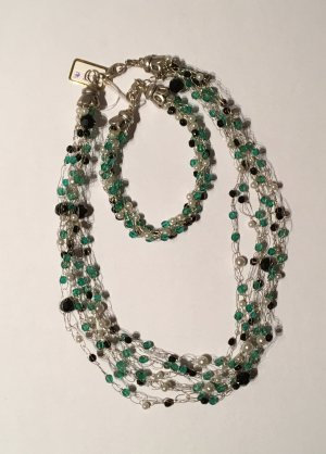 Perlenkette mit Armband in silber/türkis/schwarz/perl