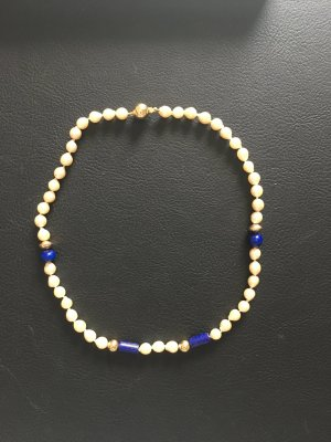 Pearl Necklace natural white-blue