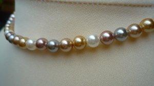 Perlenkette Muschelkernperlen 6 mm Multicolor 43 cm Pastelltöne