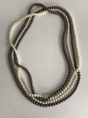 Pearl Necklace natural white-grey brown