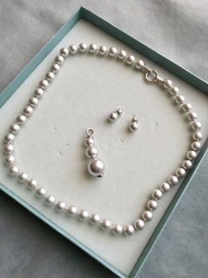 Pierre Lang Collana di perle bianco-argento