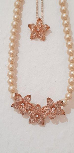 Perlenkette pearls Perlen rosegold Bergkristall