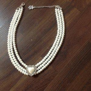 Collar estilo collier blanco Material sintético