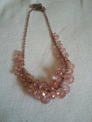 Collana di perle color oro rosa-rosa