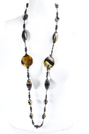 Perlenkette schwarz-goldfarben Perlenverzierung
